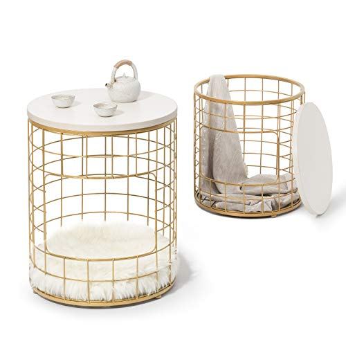 ROBOTIME Coffee Nesting Table Set of 2 with Storage for Living Room, Metal End Table with Gold Color for Bedroom, Sofa Side Tea Table