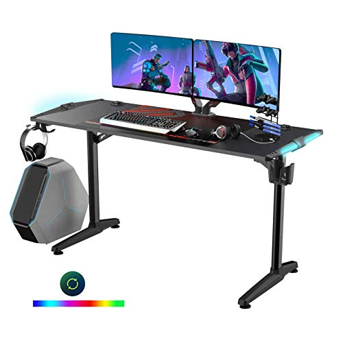 Eureka Ergonomic Gaming Desk 55', Home Computer Gaming Deskwith RGB Light Office Workstation, Black