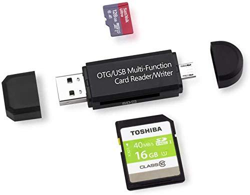 YAWALL Lector de Tarjetas Micro USB OTG Adaptador y USB 2.0 para SDXC, SDHC, SD, MMC, RS-MMC, Micro SDXC, Micro SD, Tarjeta Micro SDHC y Tarjeta UHS-I