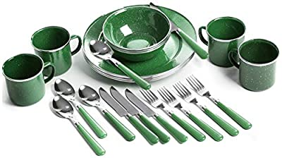 STANSPORT - Deluxe 24-Piece Enamel Tableware Set: Plates, Bowls, Mugs & Utensils (Green)