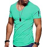 WXDSNH Camiseta De Manga Corta con Cuello En V para Hombre Camisa De Fondo Ajustada De Color Sólido Estiramiento Fitness Gimnasio Correr Verano