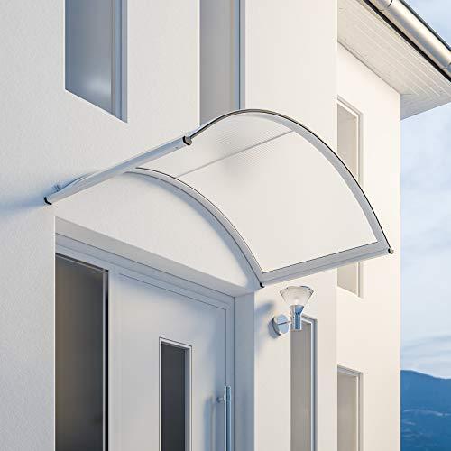 Schulte Vordach Überdachung Haustürvordach 160x90cm Polycarbonat-Hohlkammerplatte klar Aluminiumprofile weiß Rundbogenvordach