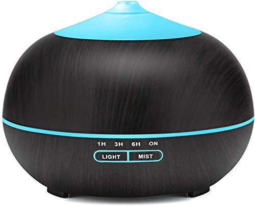 Tenswall Diffusore Atomizzatore di essenze e aromi ad Ultrasuoni 400ml,Umidificatore con 7 colori LED selezionabili, Purificatore aria per Yoga, Camera da Letto, Soggiorno, Sale Conferenza-Nero