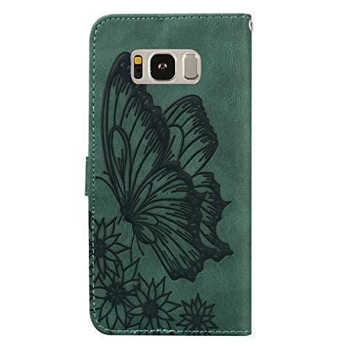Hülle für Galaxy S8+ (S8 Plus) Lederhülle Flip Tasche Klappbar Handyhülle mit [Kartenfächer] [Ständer Funktion], Cover Schutzhülle für Samsung Galaxy S8+ /G955F - JYCY010173 Grün