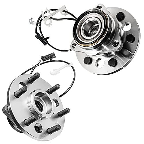 Detroit Axle - 4WD 6-Lug Front Wheel Bearings & Hub Assembly Replacement for Chevy Silverado GMC Yukon Tahoe K1500 Suburban - 2pc Set