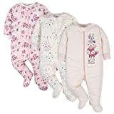 Gerber Baby Girls' 3-Pack Organic Sleep 'N Play, Pink Fox, 0-3 Months