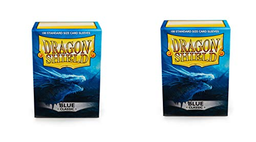 2 Packs Dragon Shield Classic Blue Standard Size 100 ct Card Sleeves Individual Pack