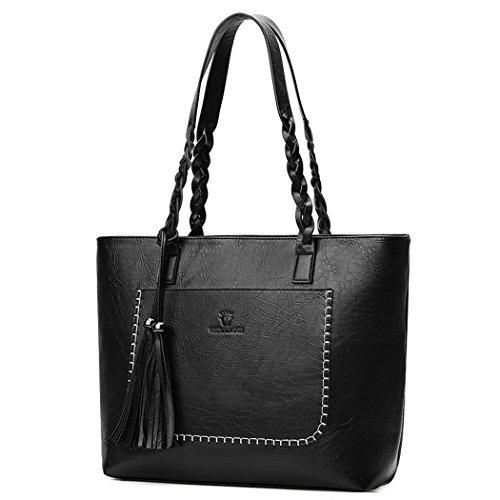 DEERWORD Damen Handtaschen Frauen Schultertaschen PU-Leder Bowlingtaschen Umhängetaschen Schwarz