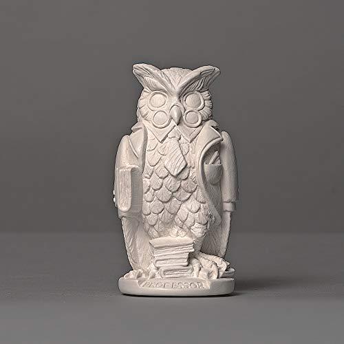 Uil in Professoren-bekleding, sculptuur van hoogwaardig cellan, echt handwerk Made in Germany, figuur geschenkidee, buste in wit, 12cm
