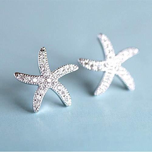 Landia Pendientes con Forma de Estrella de Cristales Hechos de Plata de Ley, Plata de Ley 925, antialérgicos, Micro Incrustaciones