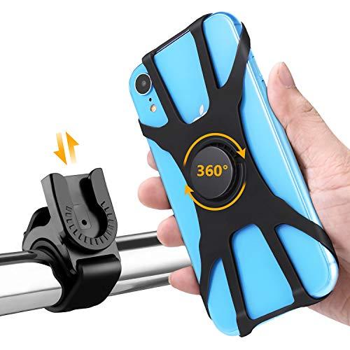 Handyhalterung, HOMPO Fahrrad Handyhalterung silikon universal Handyhalterung für Motorrad Fahrrad 4-6 Zoll Handys 360° drehbar Halterung