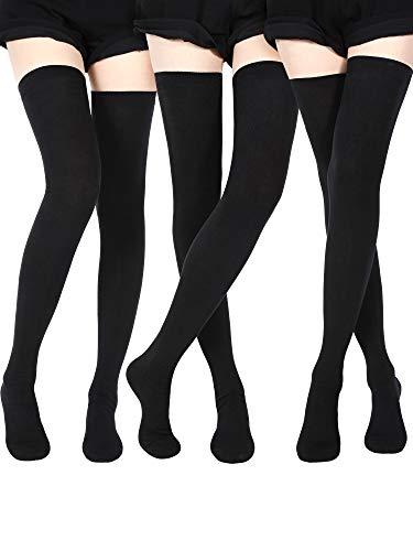 SATINIOR Extra Lange Socken Oberschenkelhohe Baumwollsocken Extra lange Stiefelstrümpfe für Mädchen Frauen (Black, 3)