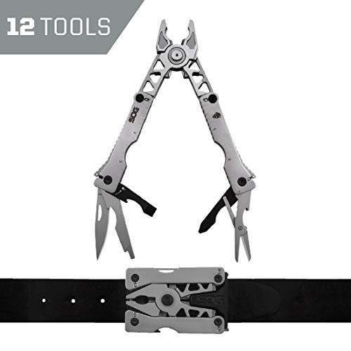 SOG Multitool Belt Buckle - Sync II EDC Multi Tool Gadgets for Men, Pliers, Knife and 12 Survival Tools and Gadgets in Mini Tool Belt EDC Kit (SN1011-CP)