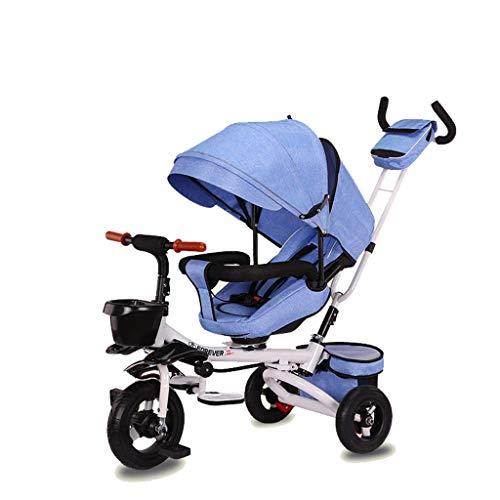 NUBAO Triciclo Evolutivo Toral Trikes de niños Trikes Triciclo, Plegable 1 año de Edad Asiento Giratorio reclinable niños niños 3 Ruedas Caja Fuerte toldo Empuje (Color: Blue2)
