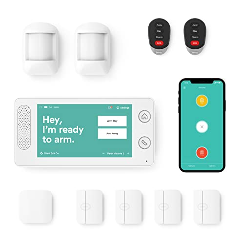 Cove - 10 Piece Home Security Alarm System - Wireless - 24/7 Professional Monitoring - No Contracts - Smart Phone Control - Touch Screen Panel - Compatible with Google Assistant and Alexa