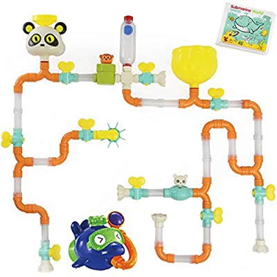 Top Right Toys Bath Pipes Building Bathtub Toy- Huge Tubes Builder Bath Toys for Toddlers and Kids with Bath Book, 60 Pieces
