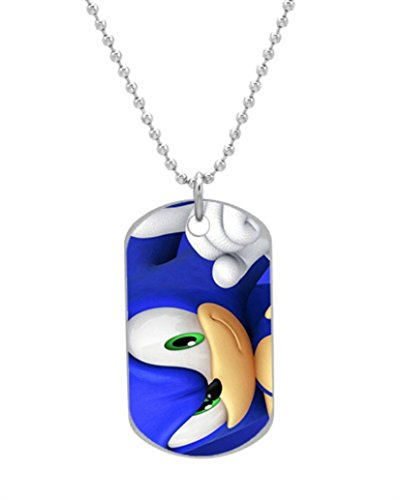 Vingoo Sonic The Hedgehog Actor Custom Cool Durable Size 1.2 x 2.1 inches Oval alumminum Dog tag pet tag ID Necklace Pendant