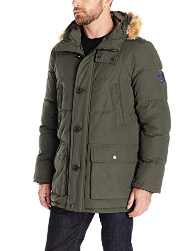 Tommy Hilfiger Men's Arctic Cloth Full Length Quilted Snorkel Jacket (Regular and Big and Tall Sizes), Dark Forest, L