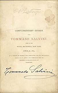 Tommaso Salvini - Menu Signed Circa 1883 co-signed By: George Parsons Lathrop