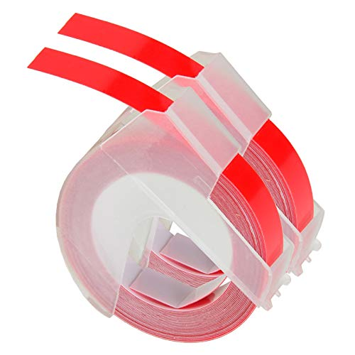 """GREENCYCLE 2 PK Replace 3D Plastic Embossing Labels for Embossing White Print on Red 520102 3/8"""" x 9.8' 9mm 3m Compatible for DYMO Embossed Label Makers Office Mate II 154000 Organizer Xpress 12965"""