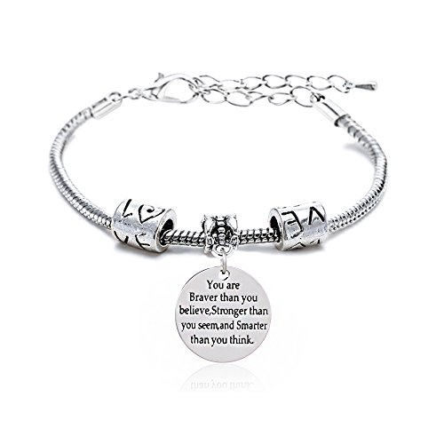 "Braccialetto regolabile, motivo ""You're Braver Stronger Smarter than you think"", regalo unisex per familiari o amici"