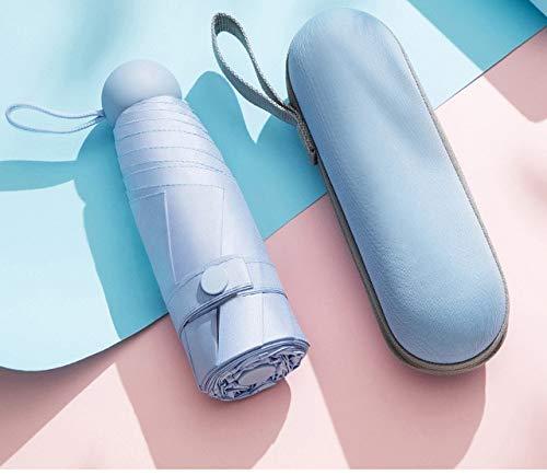 MAWA Paraguas de Cinco sujeciones protección Solar Paraguas Plegable UV sombrilla Femenina Lluvia cápsula de Doble Uso Bolsillo portátil Compacto - Azul Cielo, a1