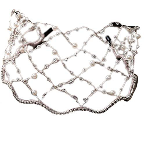 GREEN&RARE Diadema barroca de lujo vintage con perlas de imitación de malla de metal con cuentas, para novia, boda, fiesta, bandana, aro para el pelo, regalos de moda