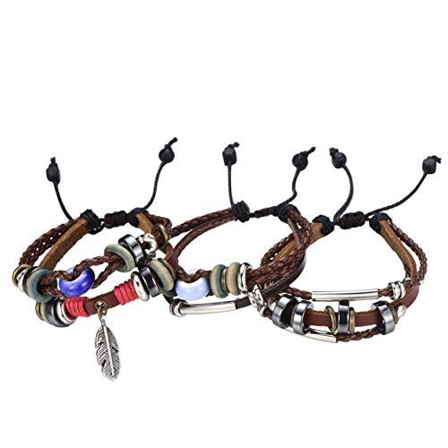 Morella Damen Lederarmband Set 3 einzelne Armbänder mit Beads und Verzierungen