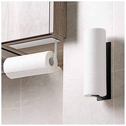 fine_fine Toilet Paper Holder, Wall Mounted & No Drilling Paper Storage Rack Tissue Roll Hanger Bathroom Paper Towel Dispenser Office Toilet Paper Holder (White)
