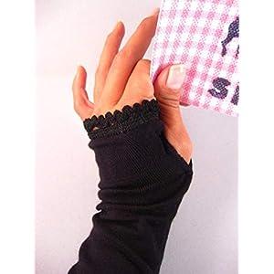 Armstulpen mit Daumen, lang – schwarz mit schwarzer Borte