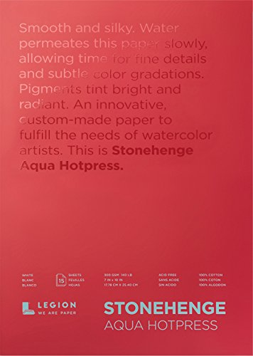 Stonehenge Aqua Watercolor Block , 7 X 10 Inches, 140 Pound, Hot Press, White, 15 Sheets