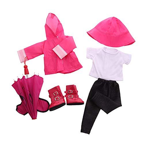 Uteruik - Traje de Lluvia para muñeca de 46 cm - Sombrero de Lluvia para Botas de Lluvia y Camiseta, Pantalones y Paraguas Accesorio de Disfraz, Juego de 6 Unidades