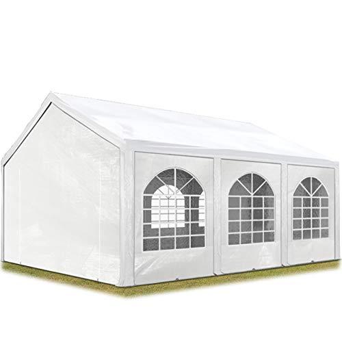 TOOLPORT Hochwertiges Partyzelt 4x6 m Pavillon Zelt ca. 240g/m² PE Plane Gartenzelt Festzelt Wasserdicht weiß
