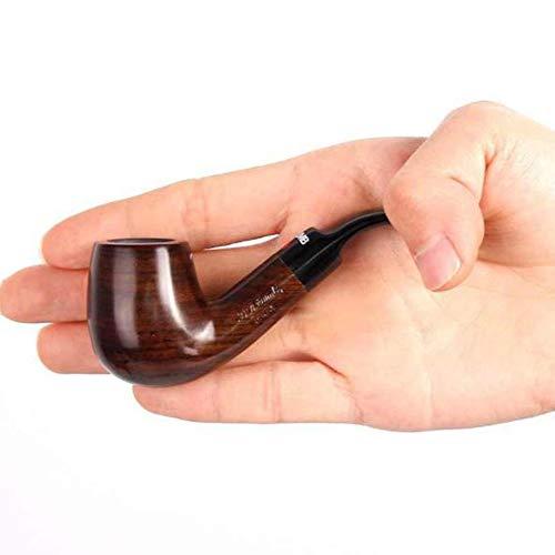 KT Tabacco da Fumo in Legno Tubo, Ebano Curvo Filtro Mini Tubo, Ebano Solido Legno Martello Uomo Portatile Fumatori
