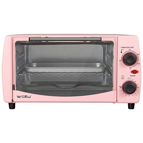 WOLTU BF10rs Mini Backofen 12 Liter, 800 Watt Toasterofen | Pizzaofen | Krümelblech mit Timer Minibackofen für Pizza, Toast, Truthahn, Hot Dogs Rosa