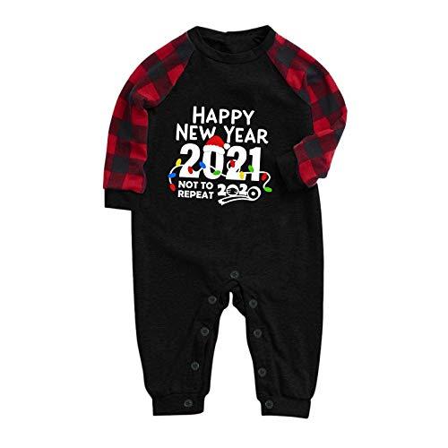 Trajes a Juego para la Familia, 2021 Happy New Years Baby Plaid Print Conjunto de Mameluco de Manga Larga para...