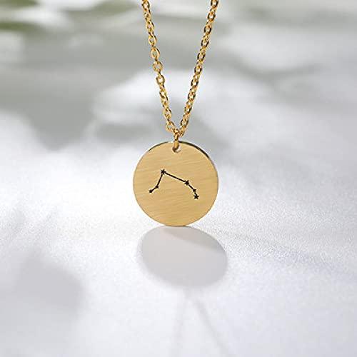 Colgante de constelación, Aries Constellation Collar Zodiac Gold Color Disco de acero inoxidable moneda amuleto colgante zodiac joyería cumpleaños regalos mujeres hombres astrología fashioncrystal