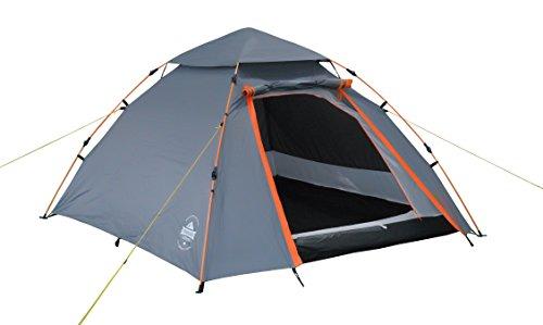 Lumaland Outdoor Pop Up Kuppelzelt Wurfzelt 3 Personen Zelt Camping Festival etc. 215 x 195 x 120 cm robust Grau