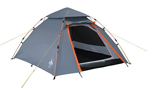 Lumaland Outdoor 3 Person Pop Up Tent 215 x 195 x 120 cm Lightweight Waterproof Taped Seams Quick Up System Festival Hiking Travel Trekking sewn-in Groundsheet portable Carrying Bag Grey