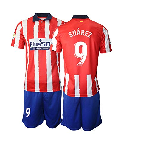 JEEG 20/21 Kinder Suarez 9# Fußball Trikot Jugend Trainings Anzug T-Shirt Set (Kinder Größe 4-13 Jahre) (28)