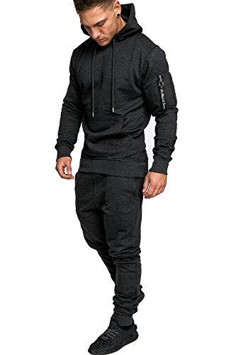 Amaci&Sons Herren Kontrast Sportanzug Jogginganzug Trainingsanzug Sporthose+Jacke 1006 Anthrazit S