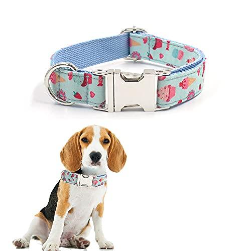 Ximger Collar para perro con diseño de macarón, suave y cómodo, con hebilla de liberación rápida, para mascotas pequeñas, medianas y grandes (M)
