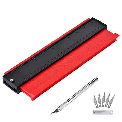 Queta Konturenlehre 25cm/10 Zoll, Profillehre für präzise Messungen Fliesen Laminat Holz Markierwerkzeug + 6 Stück Precision Carving Craft Messer Set Ersatzklingen Skalpell Schnitzmesser (Rot)