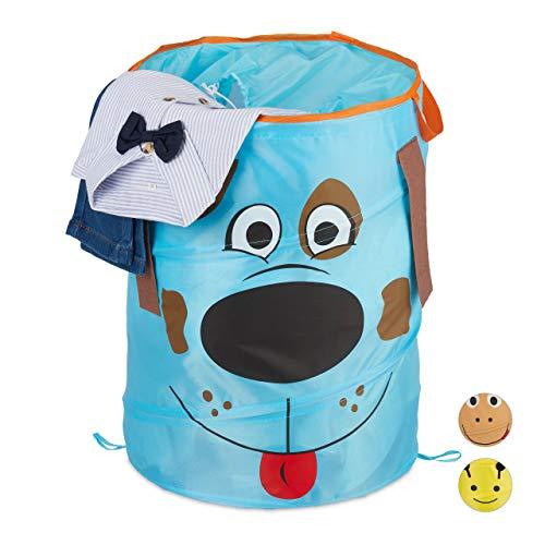 Relaxdays Cesto Ropa Sucia Infantil Plegable, Cubo Colada Niños, Perro, 39 L, Caja Juguetes, Poliéster, 43 x 34 cm, Azul