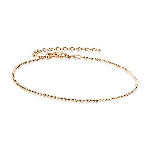 MATERIA Glitzer Armband Kugelkette 1mm Silber 925 vergoldet diamantiert facettiert mit Box #SA-67