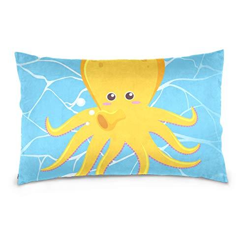 LORONA Kissenbezug mit niedlichem Oktopus auf Wasser und Leinen, Heimdekoration, unsichtbarer Reißverschluss, für Couch Sofa und Bett, Samt, Mehrfarbig, 16x24 Inches/ 40x60 cm