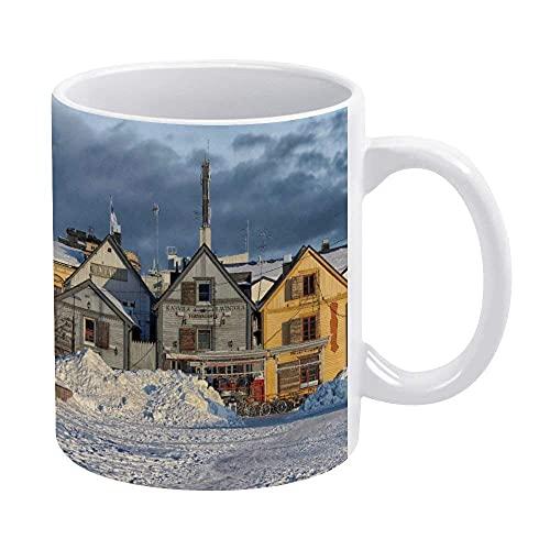 NA Oulu-Finland-City-Cities-Store-Shops-Winter-Snow Mug, Taza de café Blanca novedosa, Divertida, Tazas para mamá, papá, niñas Adolescentes, 11 oz