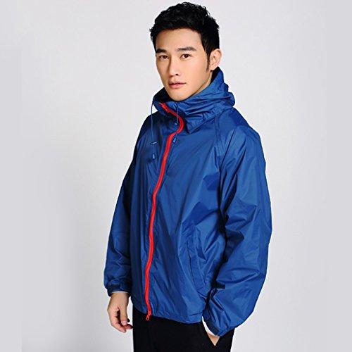 QFF Imperméable Adulte Imperméable Ride Veste Manteau Mâle Mince Vient Contre Le Vent (Couleur : Bleu foncé, Taille : XL)