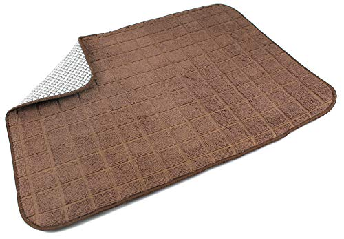 High End Home Microfiber Dish Drying Mat, Solid Color, Brown, Includes 1-Year Warranty