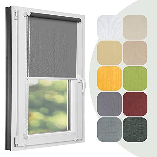 Estika Estor para ventana sin agujeros a medida, 24 colores, ancho 30-129 cm, altura 150 cm y 220 cm, 50% de oscurecimiento, montaje con pinzas, persianas para ventana
